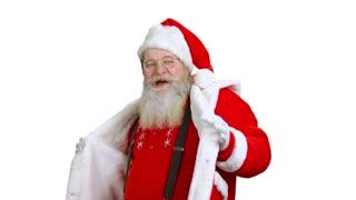 Santa dancing isolated. Santa Claus, white background.