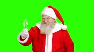 Santa holding champagne glass, chromakey. Santa Claus, green screeen.