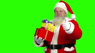 Santa on green background. Santa Claus with gift boxes.