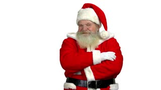 Santa with arms crossed isolated. Santa Claus on empty background.