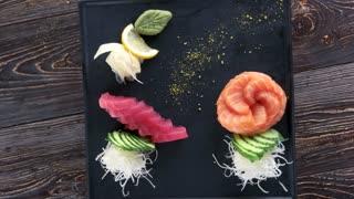 Sashimi top view. Raw fish and kataifi dough.