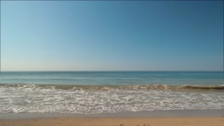 Sea and cloudless sky. Blue water and horizon. Infinity is waiting. Seascape at daytime.