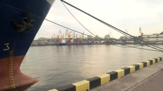 Ship nose with anchor. Port and sky. Maritime industry careers.