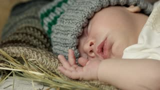 Sleeping baby close up. Child with closed eyes.