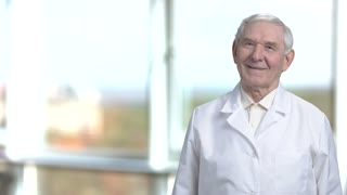 Smiling portrait of senior science specialist in white coat. Cheerful oldman staying at the right in blurred window background.