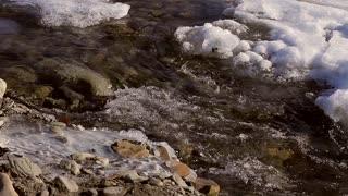 Spring brook in mountainous terrain.