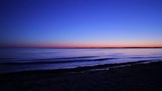 Sunrise on the beach. Night beach. Sea at dawn. Early morning on the beach. Beautiful nature.