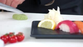 Sushi, wasabi and ginger. Japanese food close up.