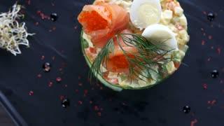 Tasty russian salad. Food top view.