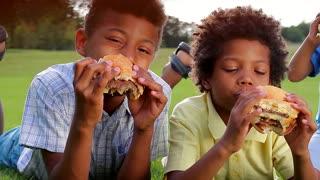 Three black boys are having breakfast and tasting hamburgers on the sunny glade.