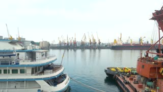 Tourist boat at the harbor. Ship industry and tourism.
