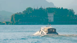 Tourist boat Italy. Isola Bella and Stresa.
