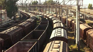 Train freight transportation platform. Aerial view. Transport and logistic background.