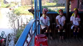 Tribe of Long Neck women. Women with rings on the neck. Tribe Kayan Lahwi.