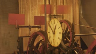 Vintage clock mechanism. Clockface and gears. Is time travel possible.
