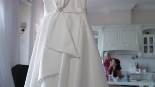 Wedding preparation. Morning of the bride. Wedding dress.