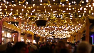 Winter Fair. New year's night. Christmas shopping. People walk on Christmas Day.