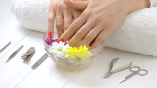 Woman hands in spa salon. Well-groomed female hands with beautiful manicure and gentle flower from aroma bath. Woman hands receiving spa procedure.