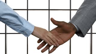 Woman shaking black man's hand. Businesscouple's handshake on white background. Good manners are always appreciated. We build our own future.
