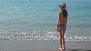 Woman standing on seashore. Lady in bikini, back view. Summer beauty tips.