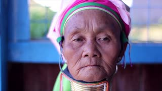 Women with metal rings on the neck. The ancient culture of Myanmar. Long-necked women. Tribe Kayan Lahwi. Padaung women.