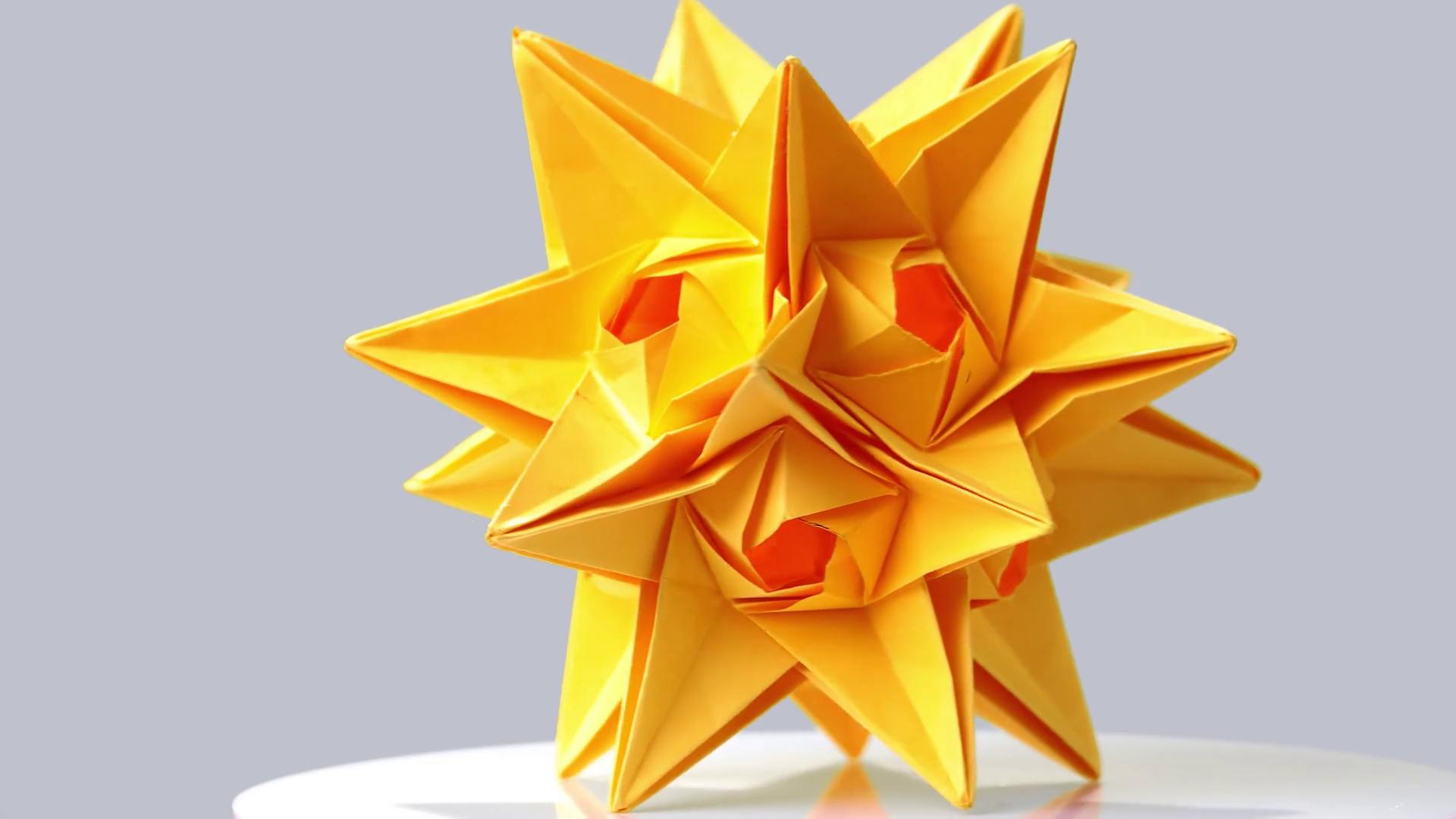 Yellow origami transforming spiky ball. — Stock Video © Denisfilm ...   1080x1920