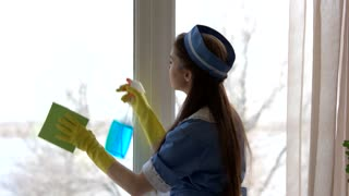 Young housemaid washing window. Woman with rag and bottle.