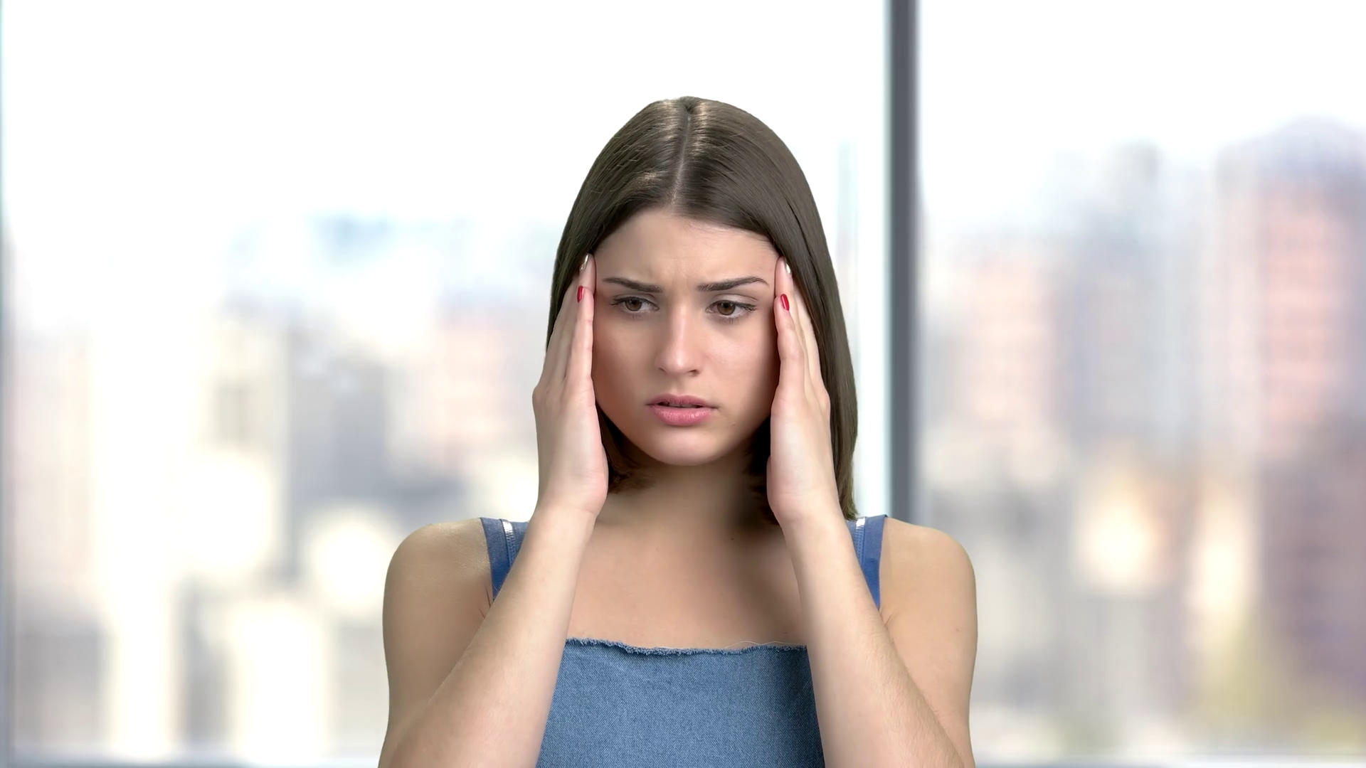 Young Pretty Lady With Terrible Headache Depressed Girl With Migraine Indoor Portrait Stress And Depression Concept Stock Video Footage Storyblocks