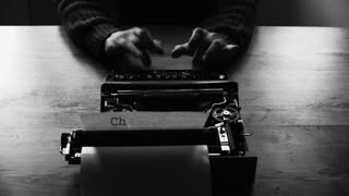 Artistic black and white shot of hands typing on a vintage typewriter. with text: Chapter 1. Film script, book or letter. More styles in the gallery