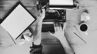 Artistic black and white shot of hands typing on a vintage typewriter. with text: Chapter 1, Title, written by. Film script, book or letter. More styles in the gallery