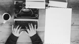 Artistic black and white shot of hands typing on a vintage typewriter. with text: Title, Chapter 1. Film script, book or letter. More styles in the gallery