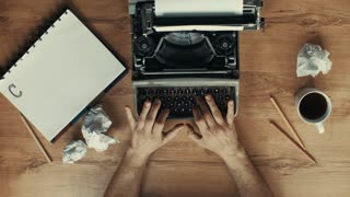 Artistic shot of hands typing in a vintage typewriter, with CHAPTER 1 text on it, more artistic styles in the gallery