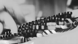 Black and white close up on vintage typewriter keys, Book writing on a vintage machine. Film script, book, letter. HD