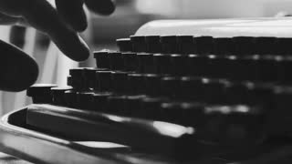 Black and white extreme close up on typewriter keys, Book writing on a vintage machine. Film script, book, letter. HD