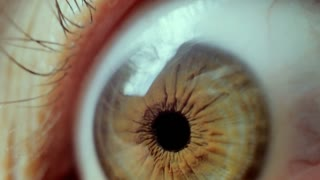 Close-up on an eye. horror and creepy looking eye. 4k, UHD video
