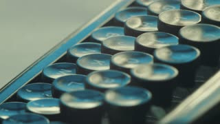 Extreme close up on typewriter keys, Book writing on a vintage machine. Film script, book, letter. HD