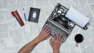 Writing a book, script, newspaper on an old typewriter. Full HD