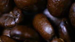Macro Close Up Brown Coffee Beans Rotating Around 2