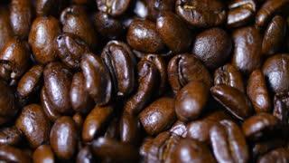 Macro Close Up Brown Coffee Beans Rotating Around 3