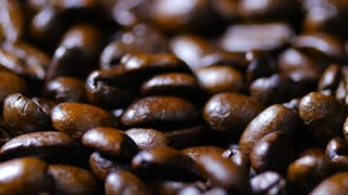 Macro Close Up Brown Coffee Beans Rotating Around 4