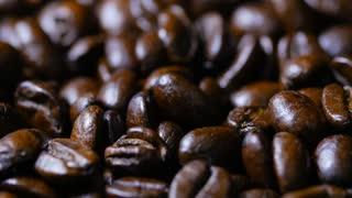 Macro Close Up Brown Coffee Beans Rotating Around 5