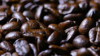 Macro Close Up Brown Coffee Beans Rotating Around Fast