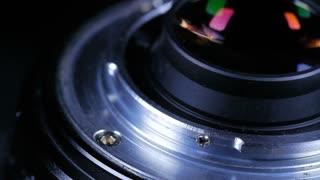Macro Close Up Of Camera Lens Mount Rotating Around