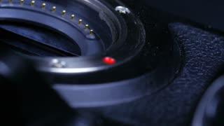 Macro Close Up Of Dslr Camera Body And Mirrorless Sensor Rotating Around