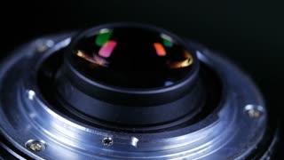 Macro Closeup Of Camera Lens Mount Rotating Around