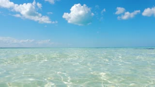 Moving Forward In Shallow Caribbean Tropical Ocean Water