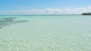 Panning Across Beautiful Tropical Caribbean Shallow Ocean Water 2