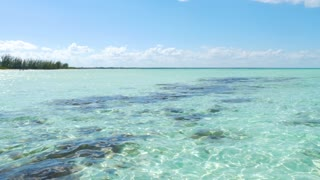 Panning Across Beautiful Tropical Caribbean Shallow Ocean Water