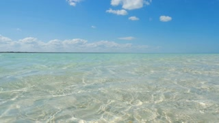 Panning Across Perfect Sand Under Beautiful Tropical Caribbean Ocean