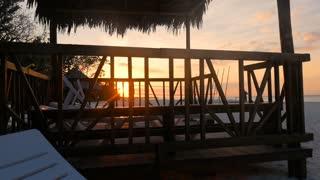 Revealing Beautiful Sunset On A Caribbean Resort Beach